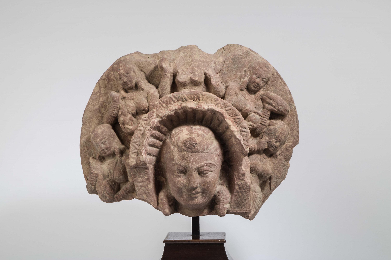 Mottled Red Sikri Sanstone Fragment of the Goddess Sashthi