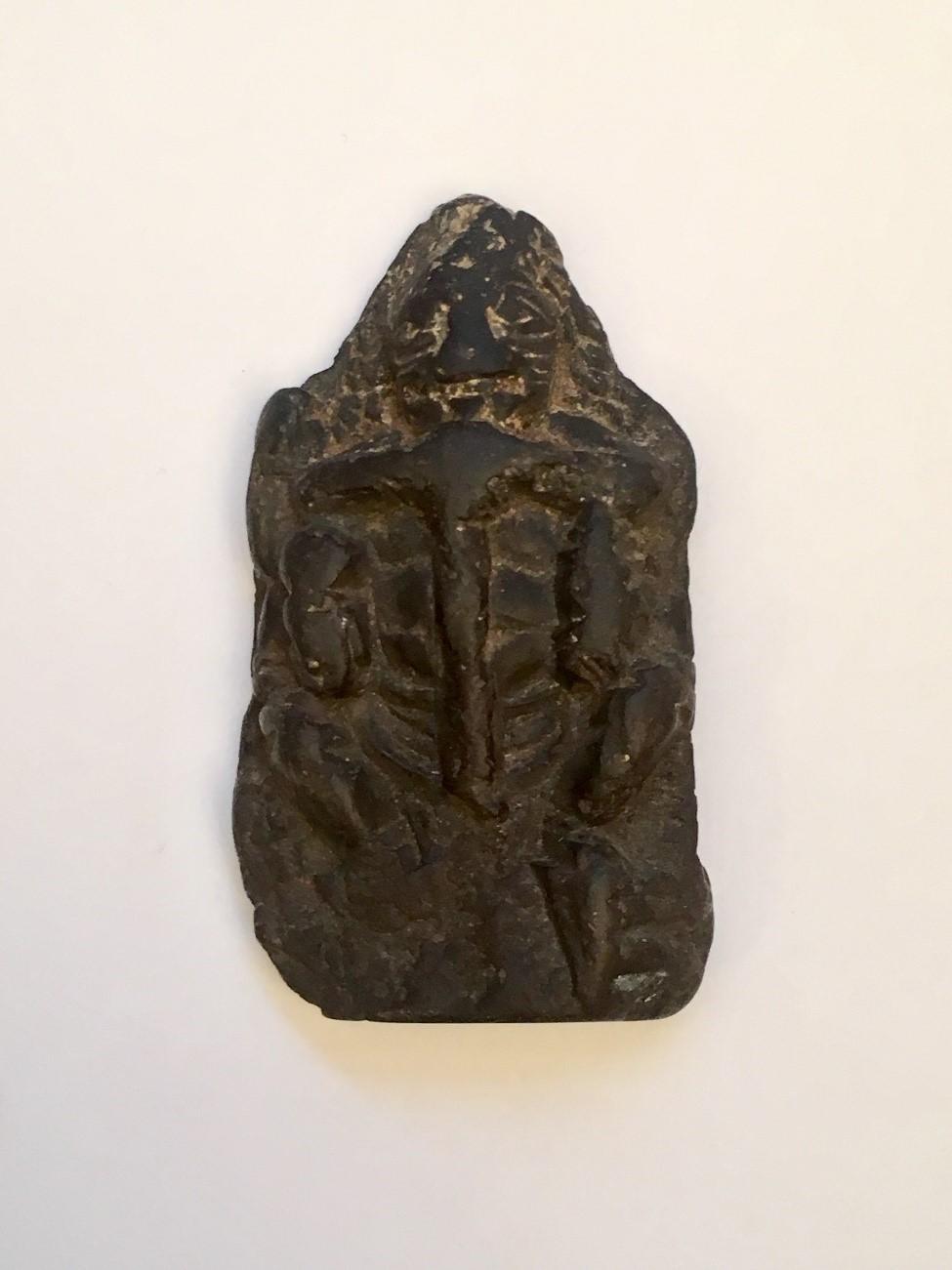 KASHMIRIAN BLACK CHLORITE SEATED NARASIMHA