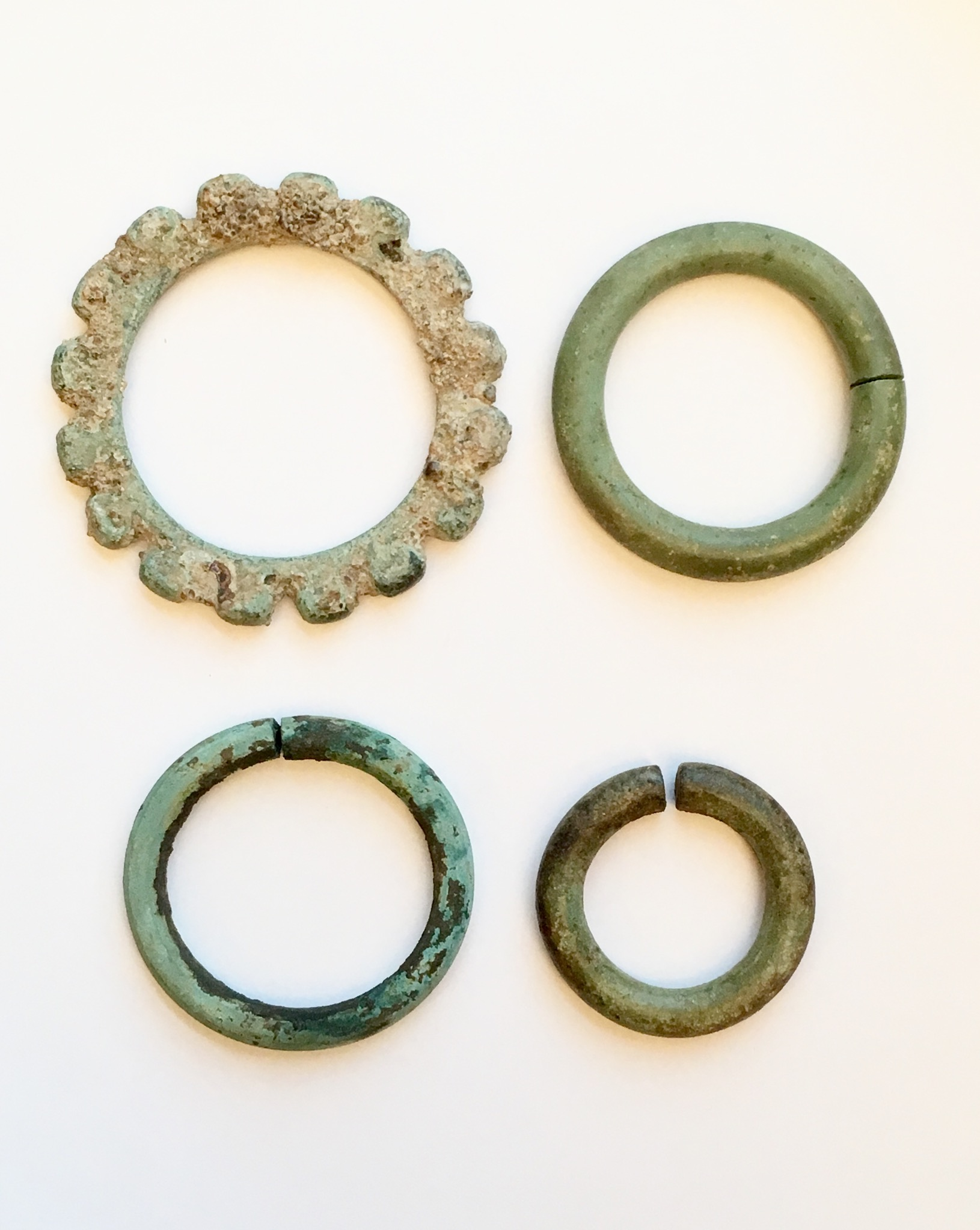 Set of four copper alloy bangles, Javanese
