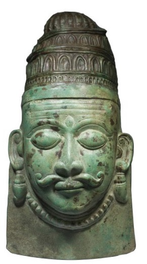 BRONZE REPOUSSE MASK OF SHIVA