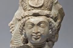 White marble head of Brahmanical deity, 18.3cm, sixth/seventh century, Turki Shahi, Afghanistan